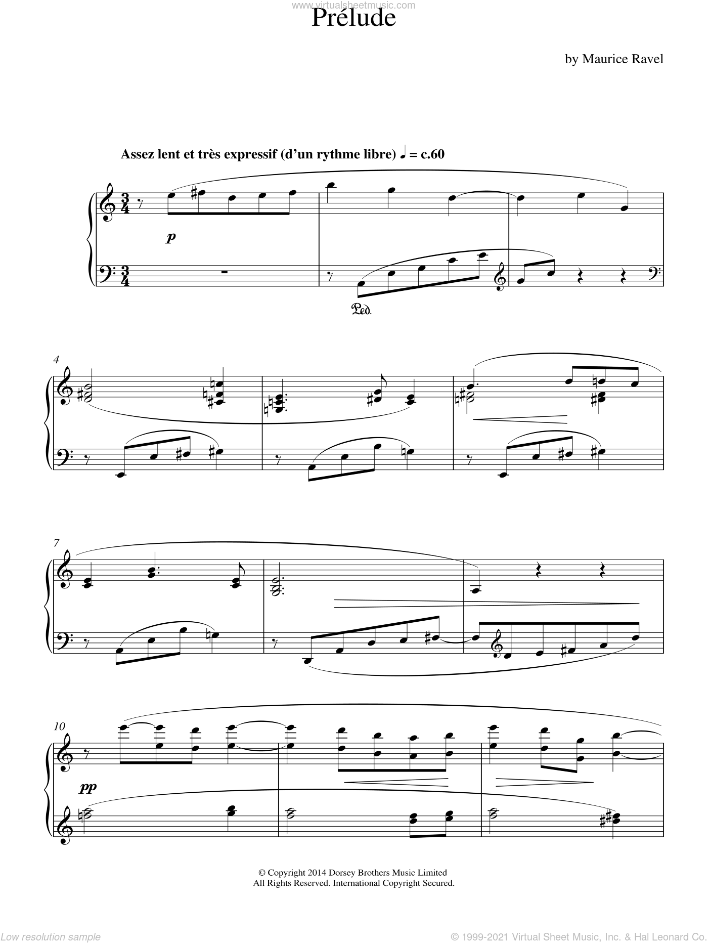 Prelude sheet music for piano solo by Maurice Ravel, classical score, intermediate skill level