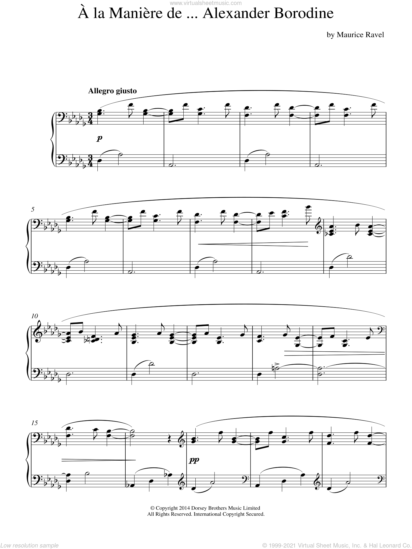 A La Maniere De Alexander Borodine sheet music for piano solo by Maurice Ravel, classical score, intermediate skill level