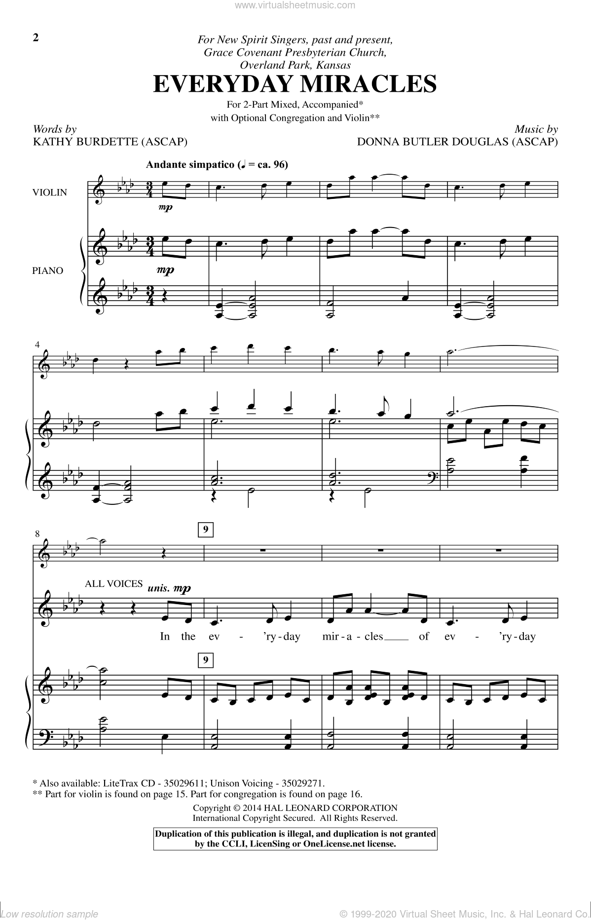 Everyday Miracles sheet music for choir and piano (duets) by Kathy Burdette and Donna Butler Douglas. Score Image Preview.