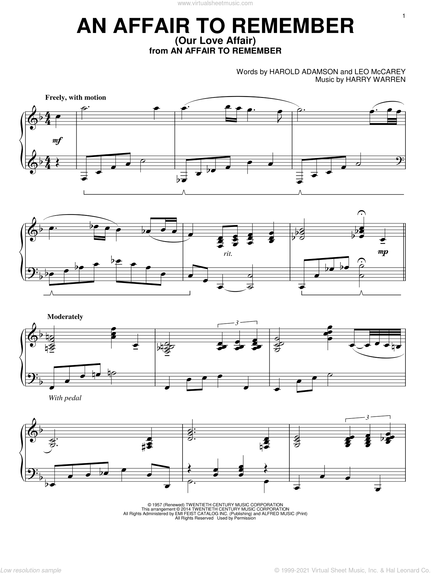 An Affair To Remember (Our Love Affair) sheet music for piano solo by Harry Warren, Harold Adamson and Leo McCarey, intermediate. Score Image Preview.