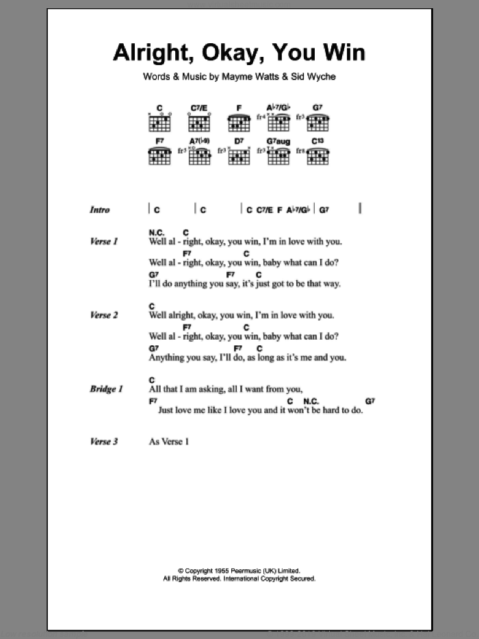Alright, Okay, You Win sheet music for guitar (chords) by Sid Wyche and Peggy Lee. Score Image Preview.