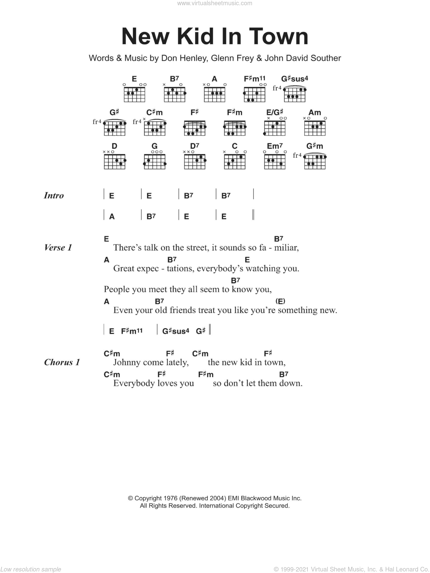 New Kid In Town sheet music for guitar (chords) by The Eagles, Don Henley, Glenn Frey and John David Souther, intermediate. Score Image Preview.