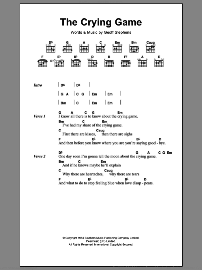 The Crying Game sheet music for guitar (chords) by Geoff Stephens. Score Image Preview.
