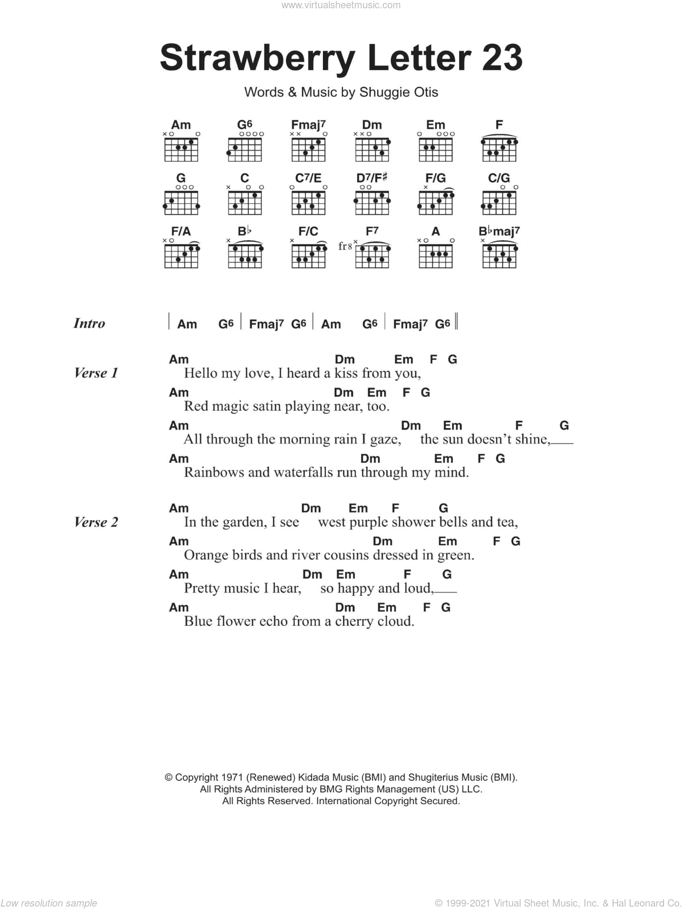 Strawberry Letter 23 sheet music for guitar (chords) by The Johnson Brothers, The Brothers Johnson and Shuggie Otis, intermediate skill level
