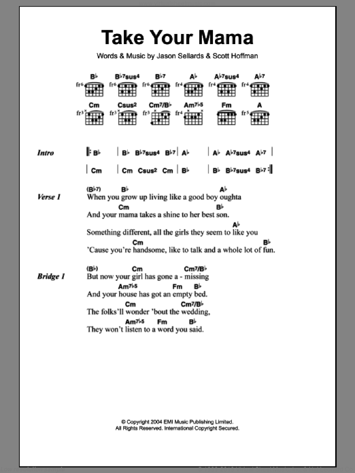 Take Your Mama sheet music for guitar (chords) by Scissor Sisters, Jason Sellards and Scott Hoffman, intermediate skill level
