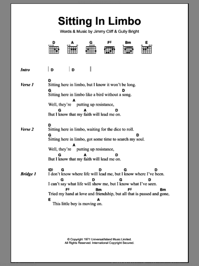 Sitting In Limbo sheet music for guitar (chords) by Jimmy Cliff, intermediate. Score Image Preview.
