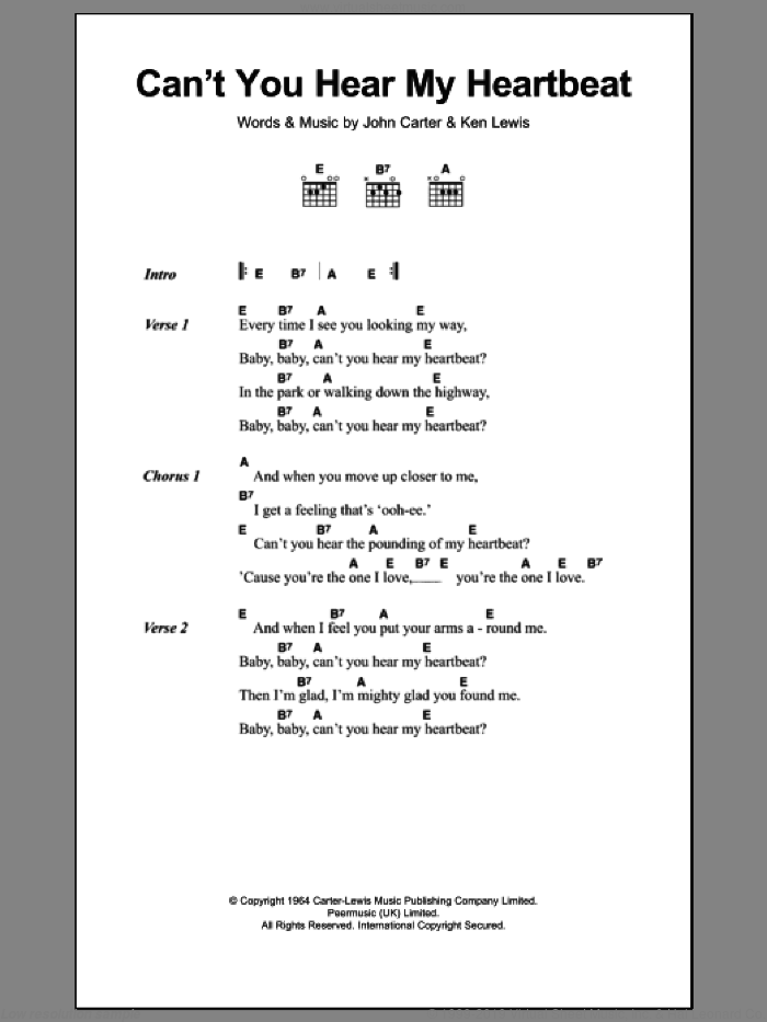 Can't You Hear My Heartbeat sheet music for guitar (chords) by Herman's Hermits, John Carter and Ken Lewis, intermediate skill level