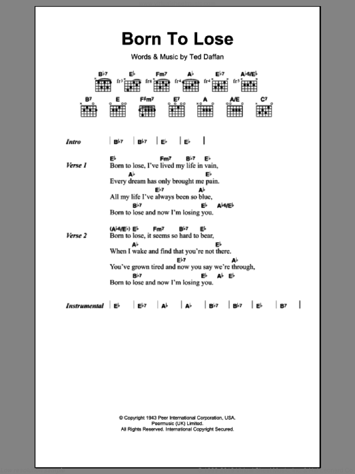 Born To Lose sheet music for guitar (chords) by Ted Daffan. Score Image Preview.