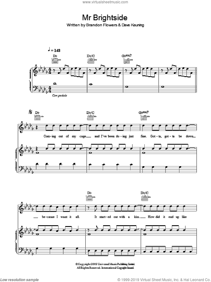 Mr. Brightside sheet music for voice, piano or guitar by The Killers and Brandon Flowers. Score Image Preview.