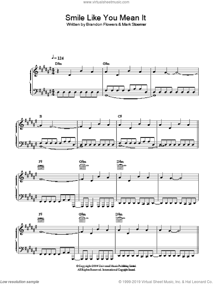 Smile Like You Mean It sheet music for voice, piano or guitar by The Killers and Brandon Flowers. Score Image Preview.