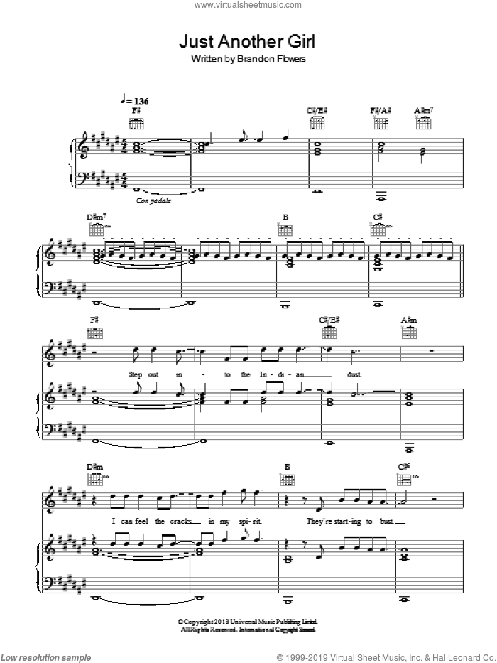 Just Another Girl sheet music for voice, piano or guitar by The Killers and Brandon Flowers, intermediate skill level
