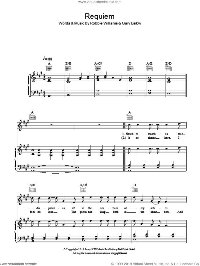 Requiem sheet music for voice, piano or guitar by Robbie Williams and Gary Barlow. Score Image Preview.
