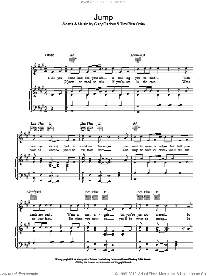 Jump sheet music for voice, piano or guitar by Tim Rice Oxley and Gary Barlow. Score Image Preview.