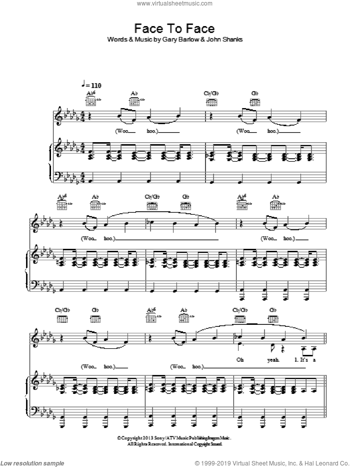 Face To Face sheet music for voice, piano or guitar by Gary Barlow and John Shanks, intermediate. Score Image Preview.