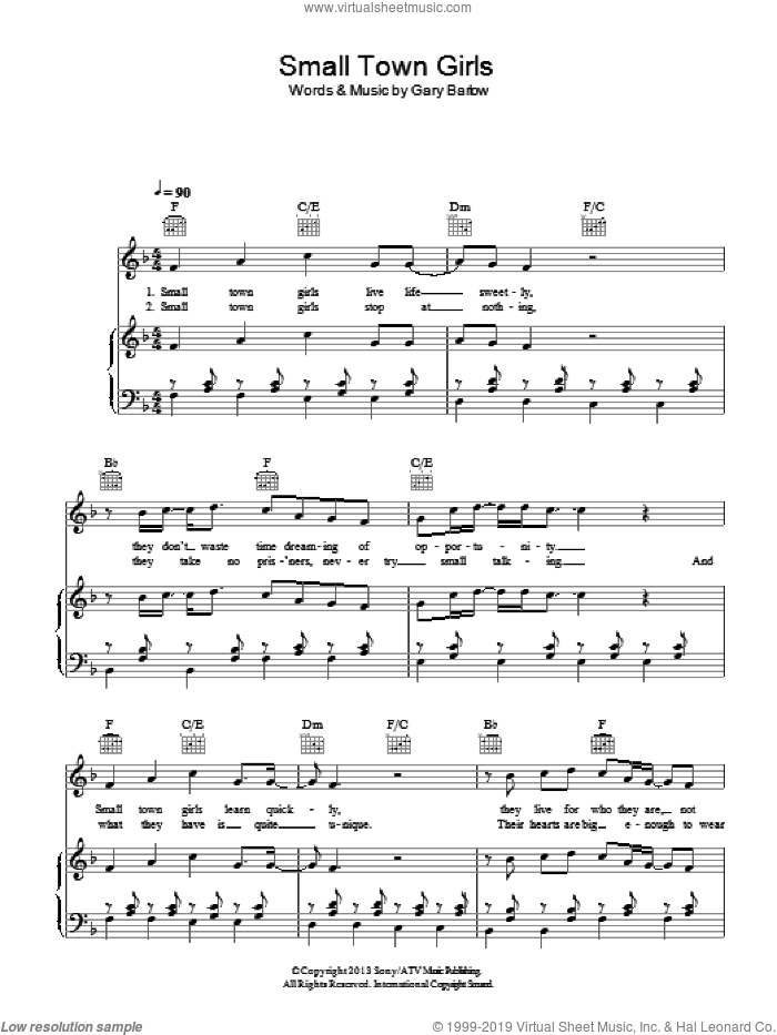 Small Town Girls sheet music for voice, piano or guitar by Gary Barlow, intermediate voice, piano or guitar. Score Image Preview.