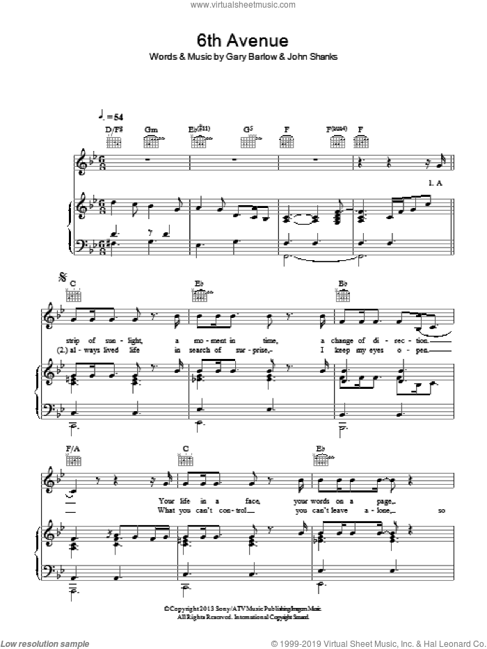 6th Avenue sheet music for voice, piano or guitar by Gary Barlow and John Shanks, intermediate voice, piano or guitar. Score Image Preview.