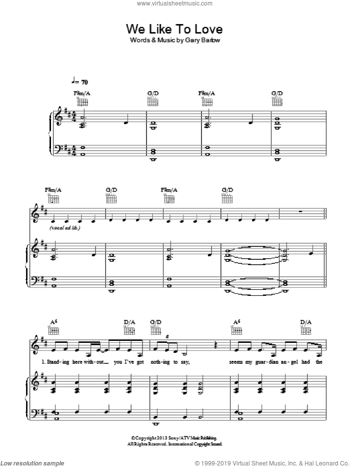 We Like To Love sheet music for voice, piano or guitar by Gary Barlow. Score Image Preview.