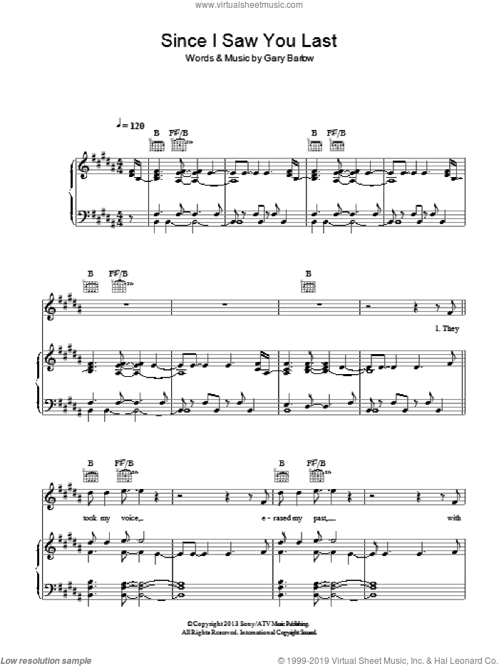 Since I Saw You Last sheet music for voice, piano or guitar by Gary Barlow. Score Image Preview.