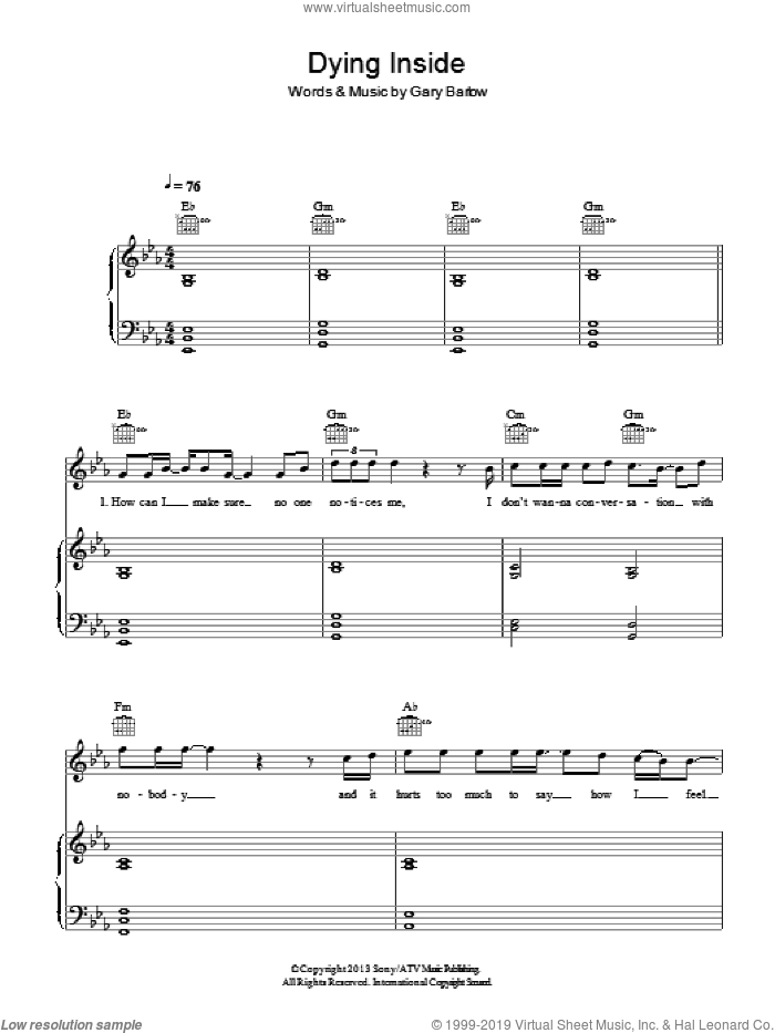 Dying Inside sheet music for voice, piano or guitar by Gary Barlow. Score Image Preview.