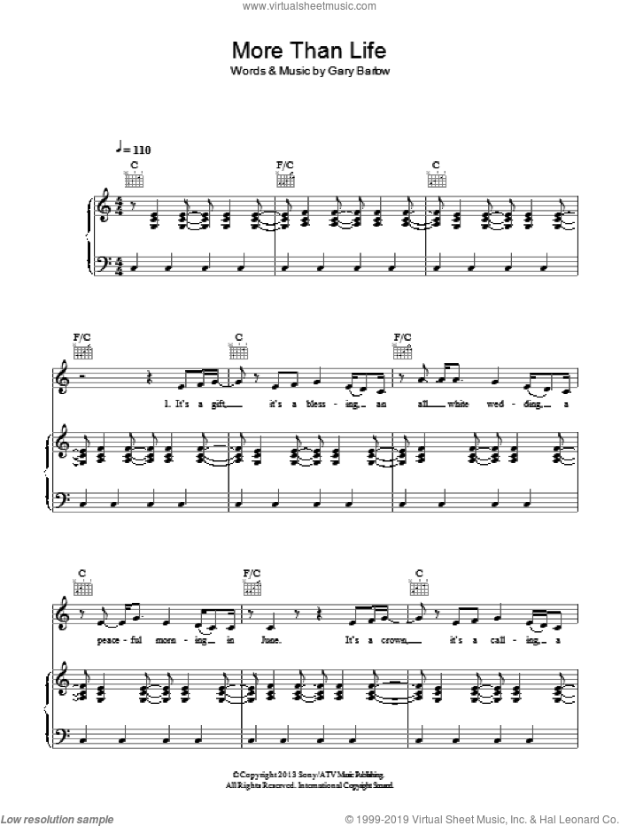 More Than Life sheet music for voice, piano or guitar by Gary Barlow, intermediate skill level