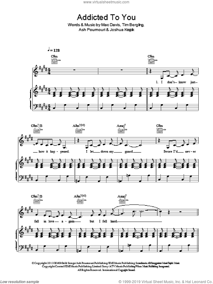 Addicted To You sheet music for voice, piano or guitar by Avicii and Mac Davis, intermediate voice, piano or guitar. Score Image Preview.