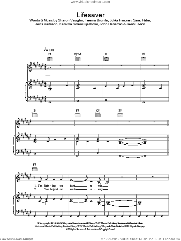 Lifesaver sheet music for voice, piano or guitar by Sunrise Avenue, Jakob Erixson, Jens Karlsson, John Harleman, Jukka Immonen, Karl-Ola Solem Kjellholm, Samu Haber, Sharon Vaughn and Teemu Brunila, intermediate