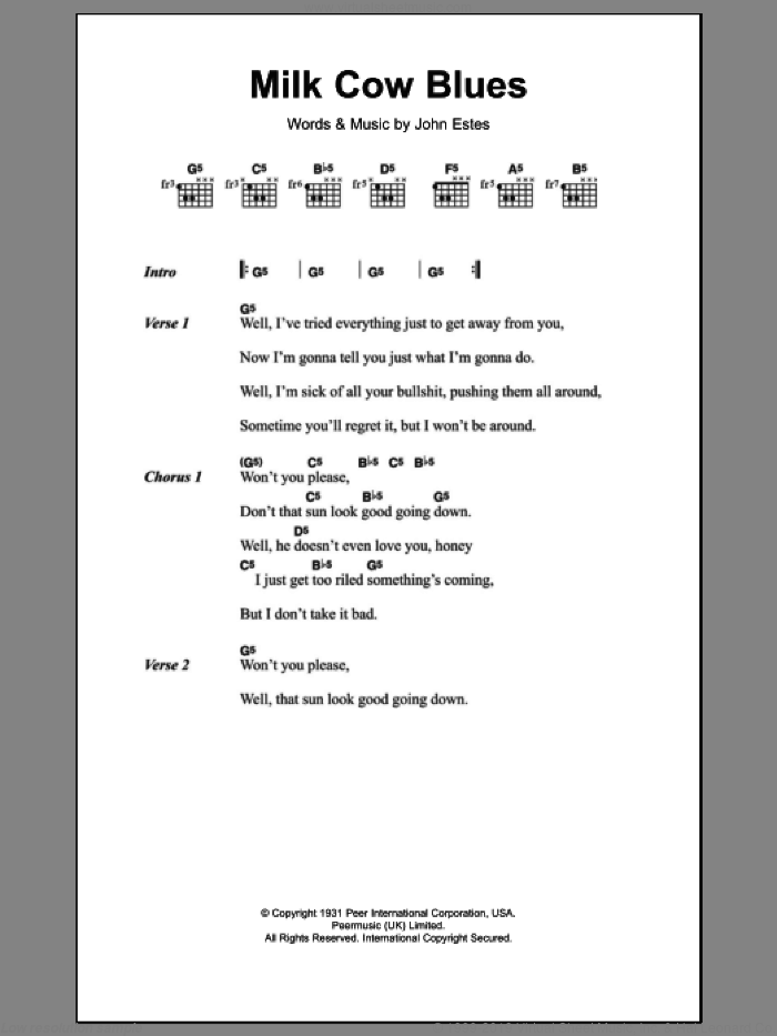Milk Cow Blues sheet music for guitar (chords) by John Estes and Eddie Cochran. Score Image Preview.