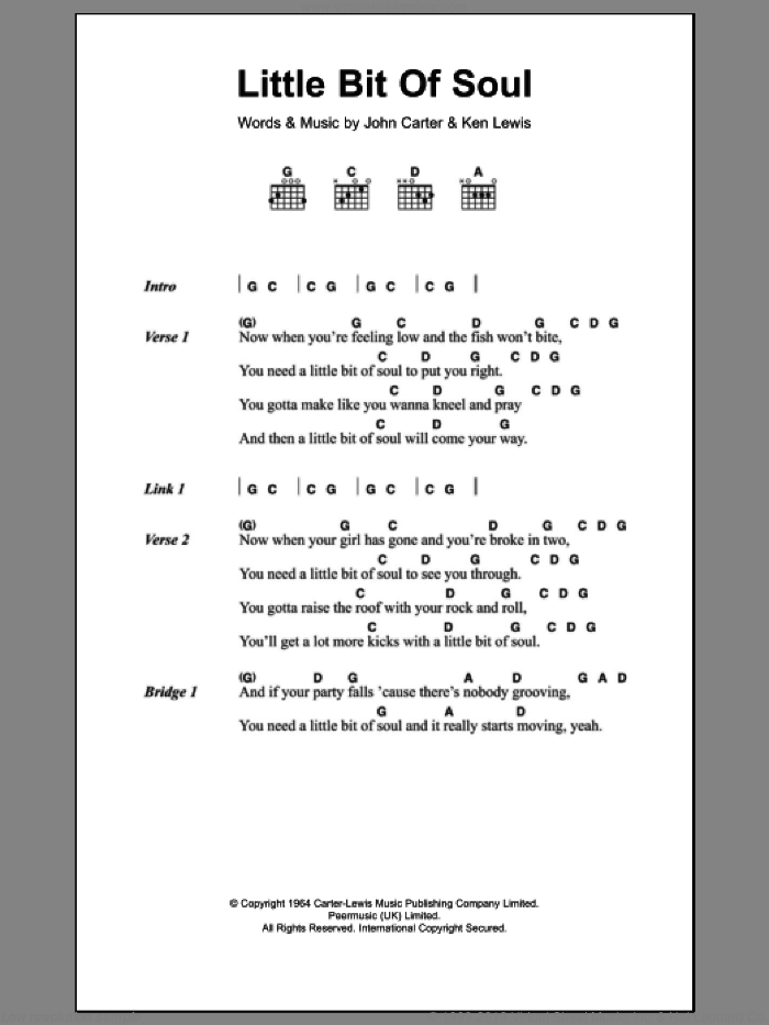 Little Bit Of Soul sheet music for guitar (chords) by Ken Lewis and John Carter. Score Image Preview.