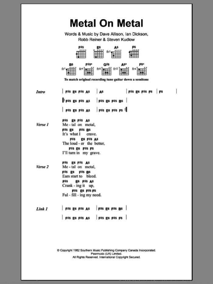 Metal On Metal sheet music for guitar (chords) by Steven Kudlow. Score Image Preview.
