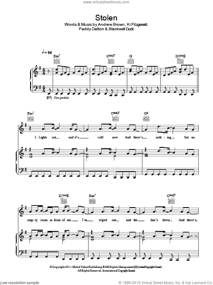 Stolen sheet music for voice, piano or guitar by LAWSON and Andrew Brown, intermediate. Score Image Preview.