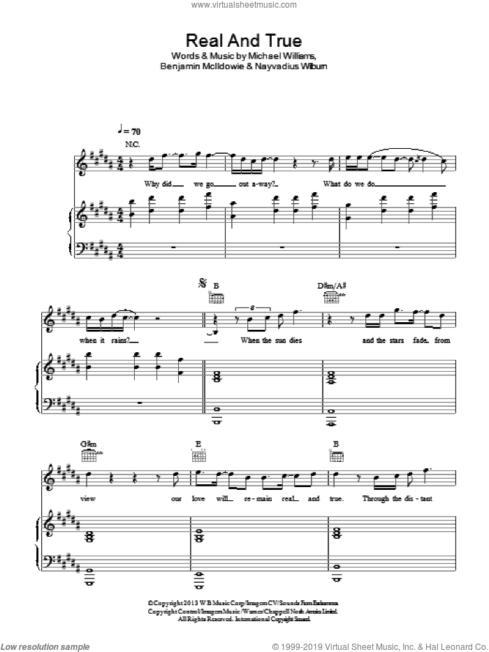 Real And True sheet music for voice, piano or guitar by Future and Miley Cyrus feat. Mr Hudson, Benjamin McIldowie, Michael Williams and Nayvadius Wilburn, intermediate skill level