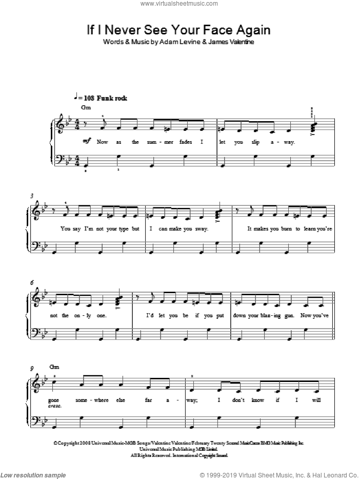 If I Never See Your Face Again sheet music for piano solo by Maroon 5 feat. Rihanna, Adam Levine and James Valentine, easy skill level