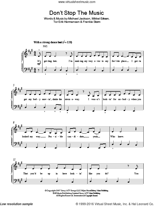 Don't Stop The Music sheet music for piano solo by Tor Erik Hermansen, Rihanna, Michael Jackson and Mikkel Eriksen. Score Image Preview.