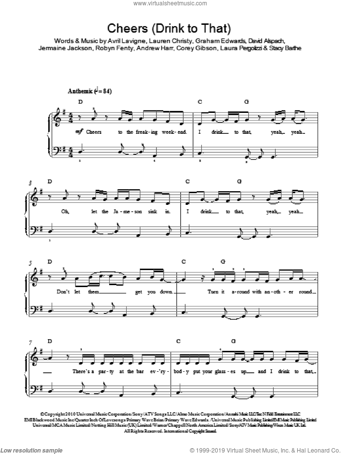 Cheers (Drink To That) sheet music for piano solo by Rihanna, Andrew Harr, Avril Lavigne, Corey Gibson, David Alspach, Graham Edwards, Jermaine Jackson, Laura Pergolizzi, Lauren Christy, Robyn Fenty and Stacy Barthe, easy. Score Image Preview.