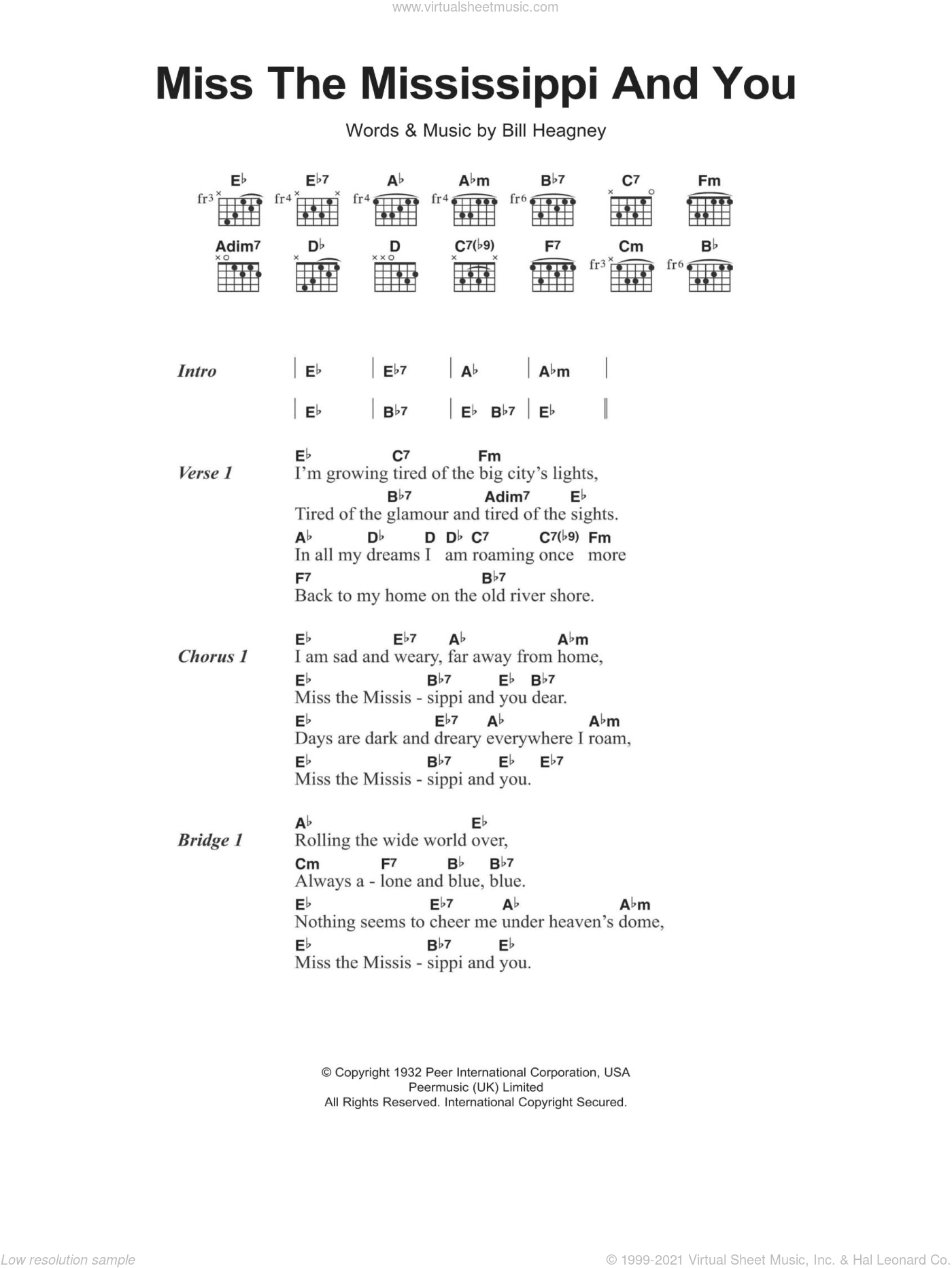 Heagney Miss The Mississippi And You Sheet Music For Guitar Chords