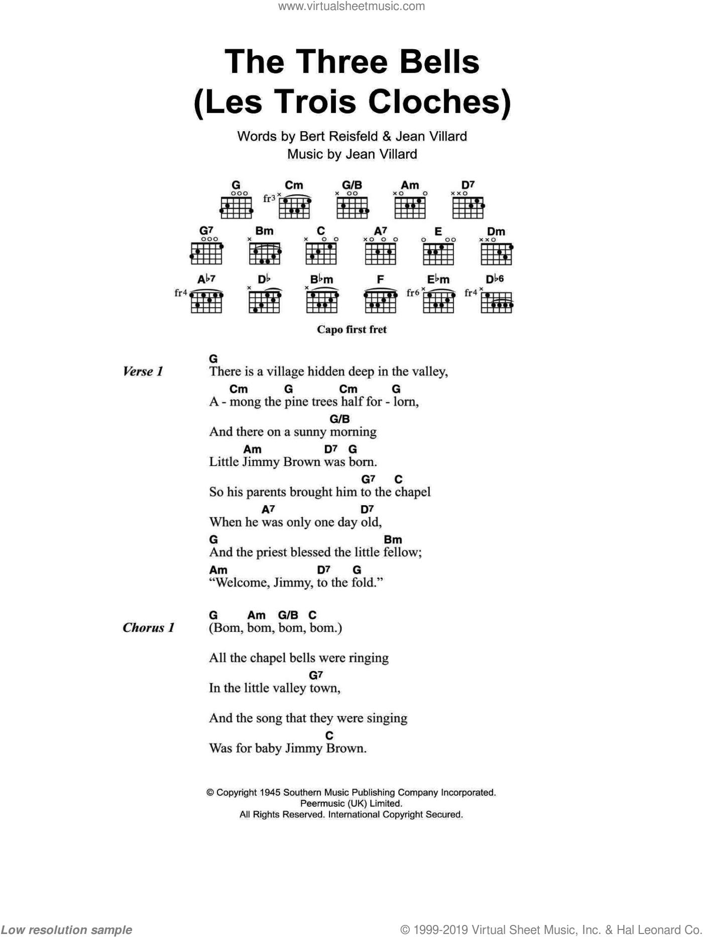 The Three Bells (Les Trois Cloches) sheet music for guitar (chords) by Edith Piaf, Bert Reisfeld and Jean Villard, intermediate skill level