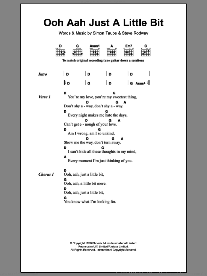 Ooh Aah Just A Little Bit sheet music for guitar (chords) by Gina G. Score Image Preview.