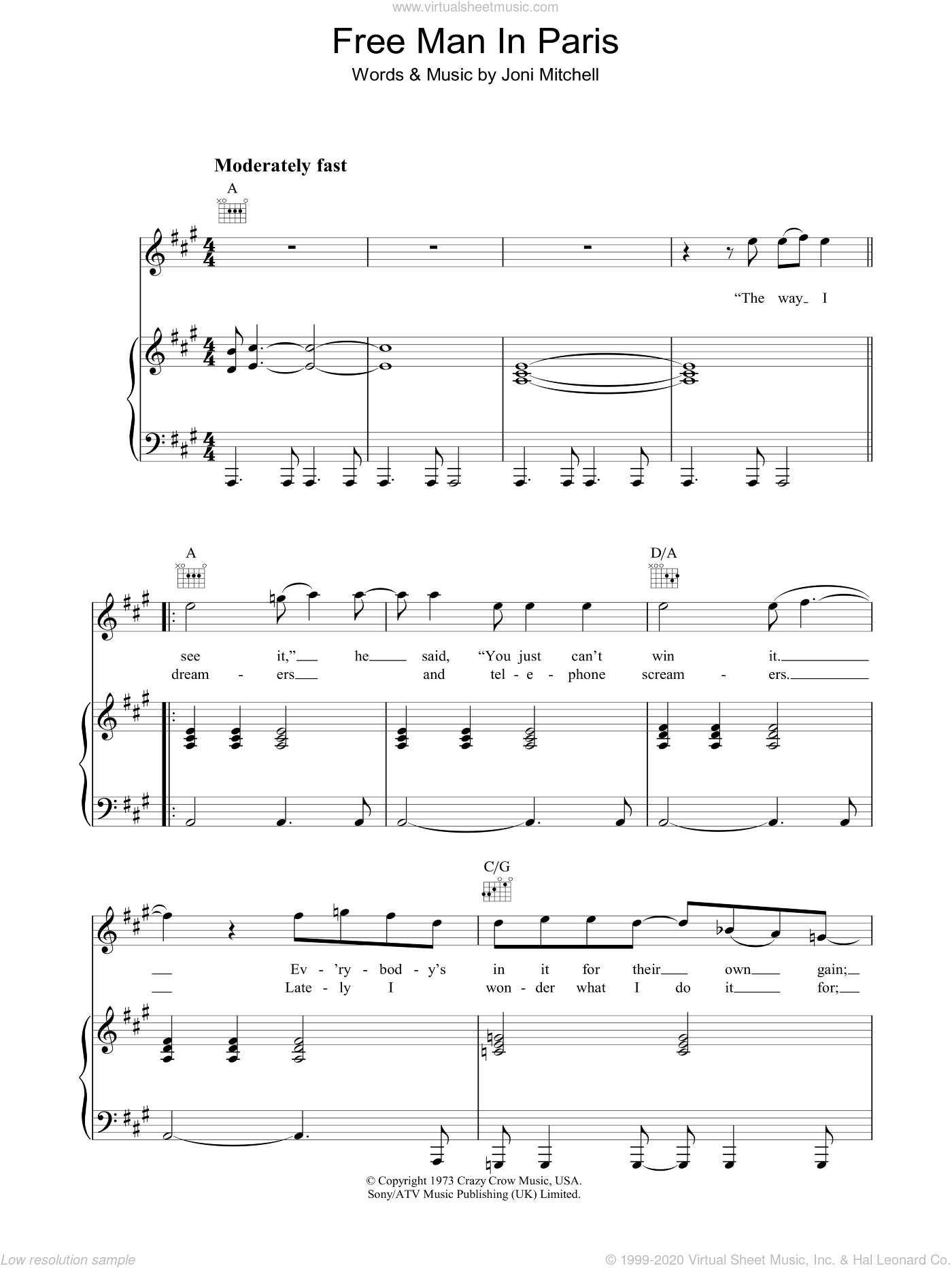 Free Man In Paris sheet music for voice, piano or guitar by Joni Mitchell, intermediate skill level