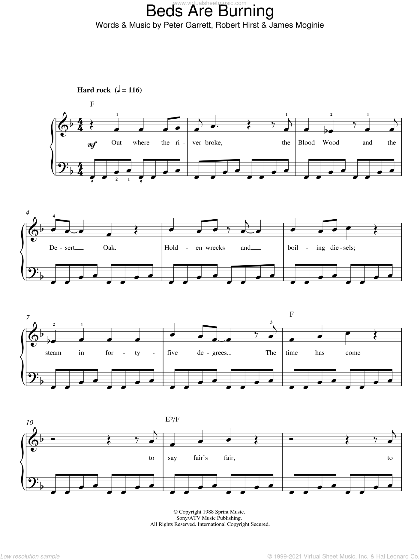 Beds Are Burning sheet music for piano solo by Midnight Oil, Jim Moginie, Peter Garrett and Robert Hirst, easy skill level