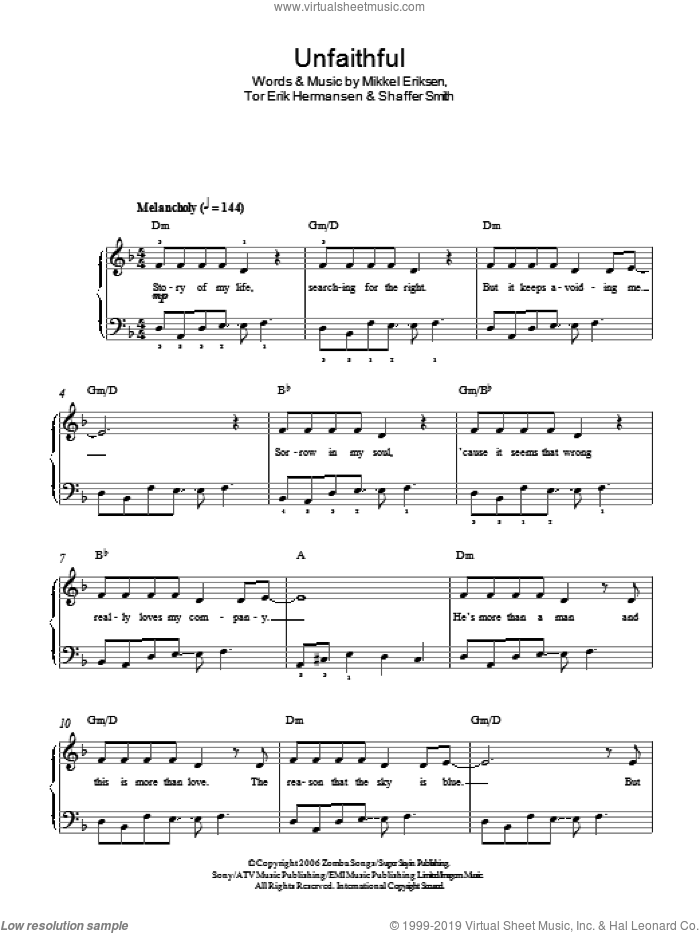 Unfaithful sheet music for piano solo by Rihanna, Mikkel Eriksen, Shaffer Smith and Tor Erik Hermansen, easy skill level