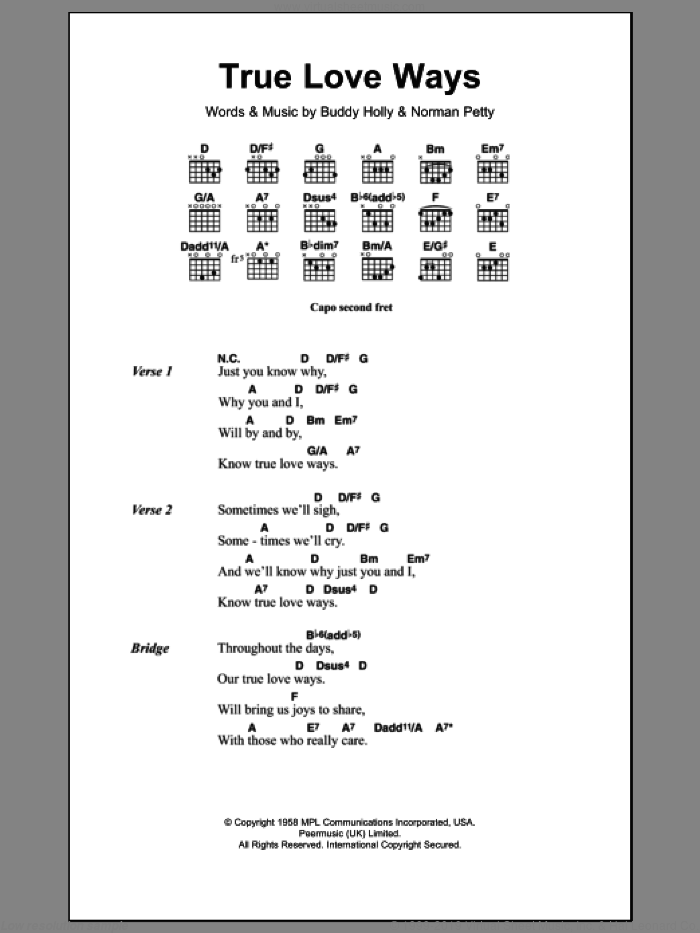 True Love Ways sheet music for guitar (chords) by Buddy Holly. Score Image Preview.