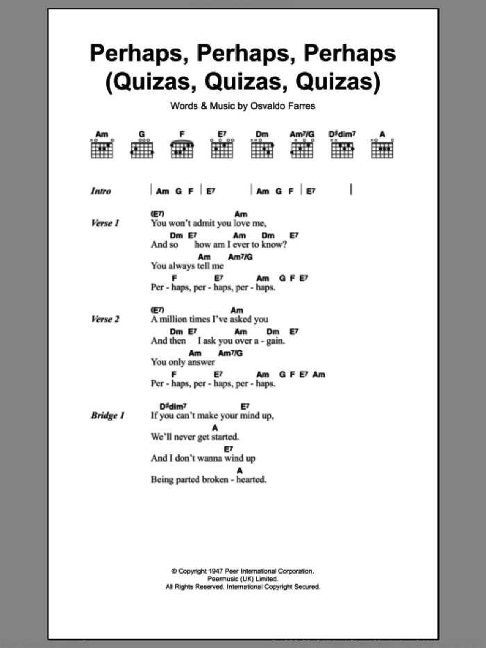 Perhaps, Perhaps, Perhaps (Quizas, Quizas, Quizas) (theme from Coupling) sheet music for guitar (chords) by Osvaldo Farres, intermediate skill level