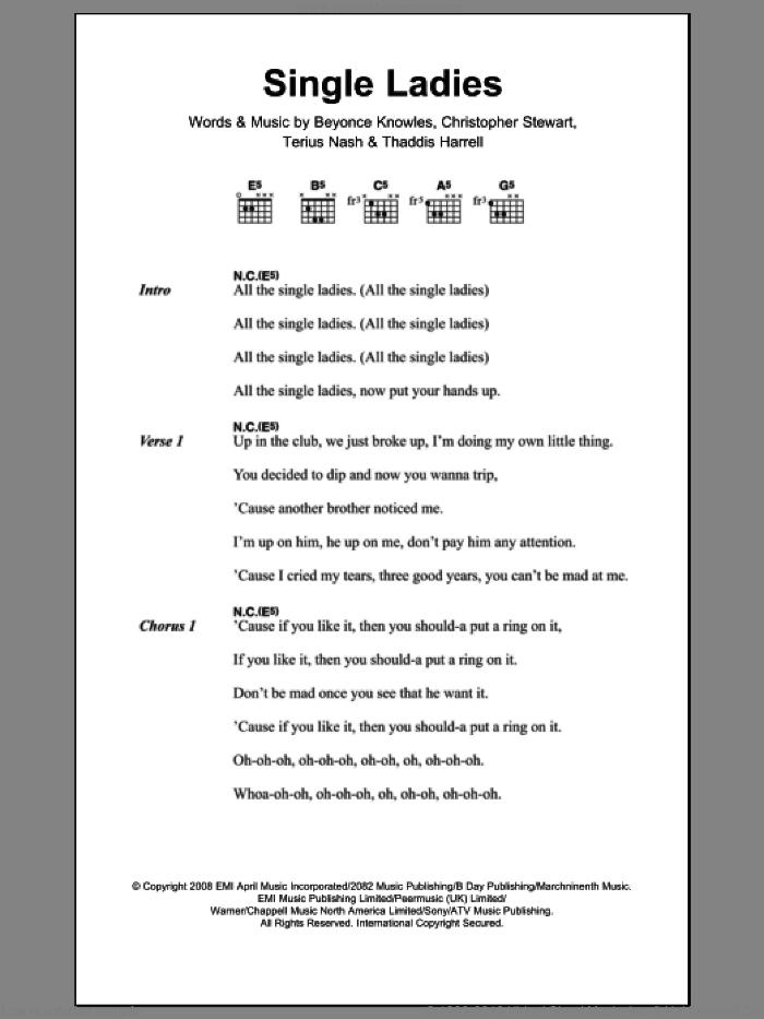 Beyonce - Single Ladies sheet music for guitar (chords) [PDF]