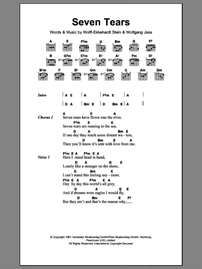 Seven Tears sheet music for guitar (chords) by Goombay Dance Band, intermediate. Score Image Preview.