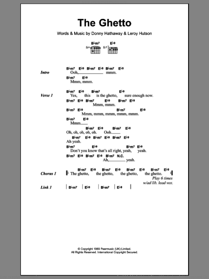 The Ghetto sheet music for guitar (chords) by Leroy Hutson and Donny Hathaway. Score Image Preview.