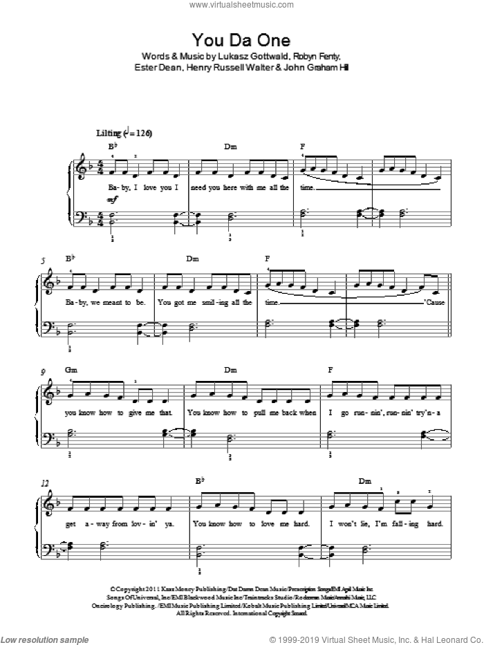 You Da One sheet music for piano solo by Rihanna, Ester Dean and Lukasz Gottwald, easy piano. Score Image Preview.