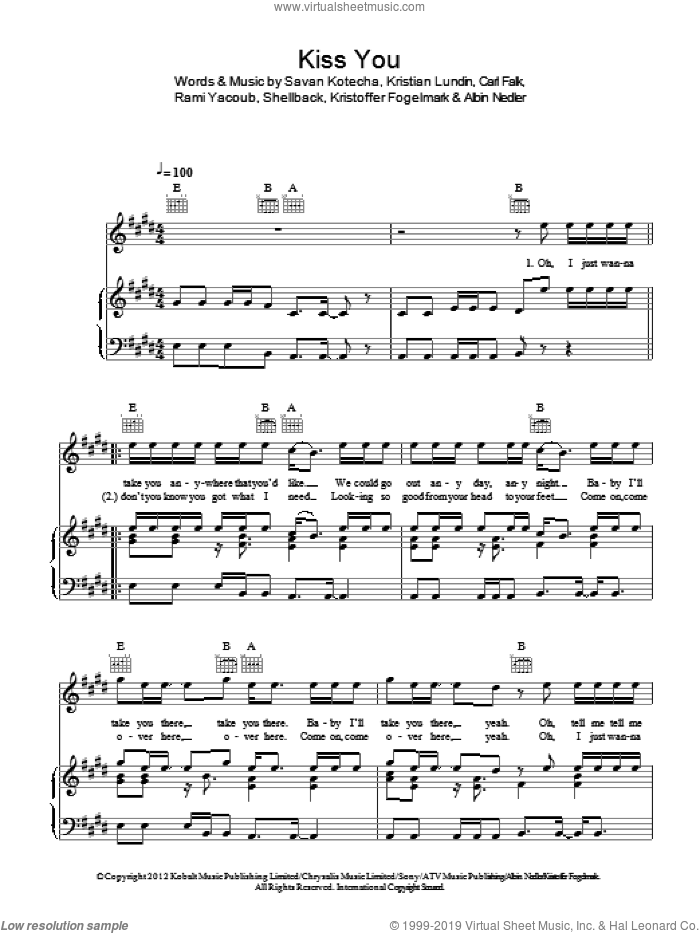 Kiss You sheet music for voice, piano or guitar by One Direction, Albin Nedler, Carl Falk, Kristian Lundin, Kristoffer Fogelmark, Rami, Savan Kotecha and Shellback, intermediate skill level