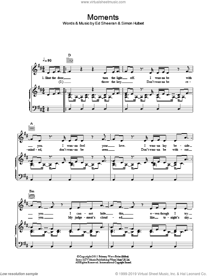 Moments sheet music for voice, piano or guitar by Simon Hulbert, One Direction and Ed Sheeran. Score Image Preview.