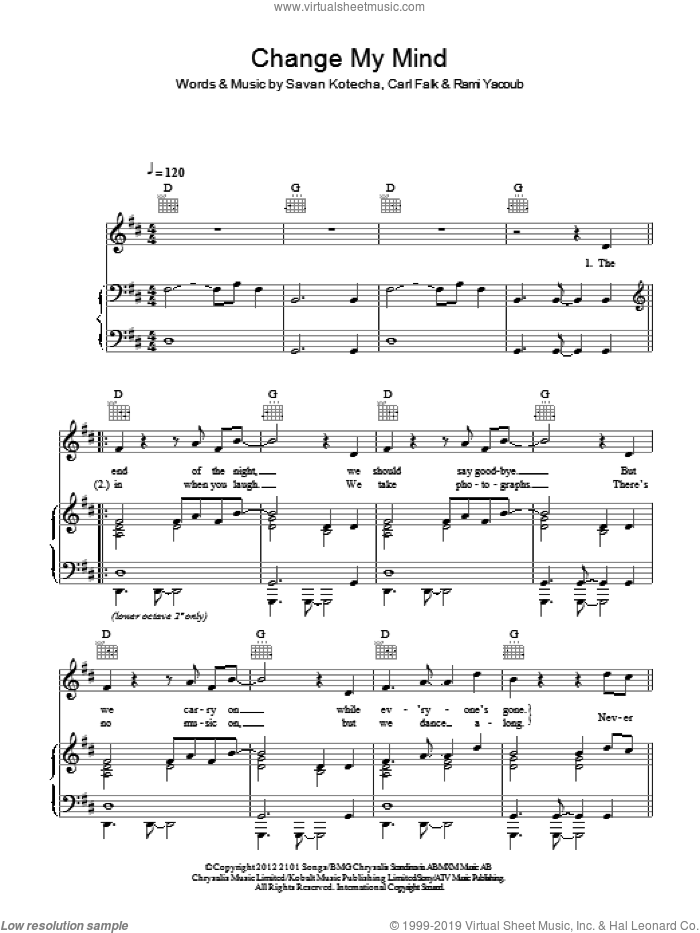 Change My Mind sheet music for voice, piano or guitar by Savan Kotecha, One Direction, Carl Falk and Rami. Score Image Preview.