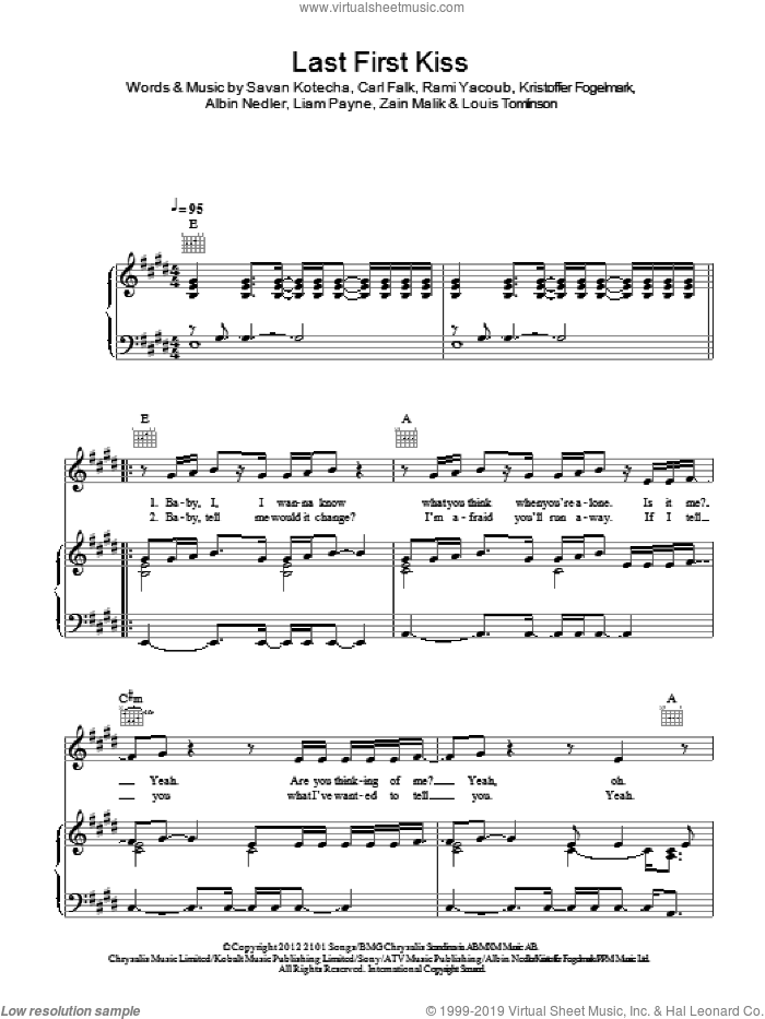 Last First Kiss sheet music for voice, piano or guitar by One Direction, Albin Nedler, Carl Falk, Kristoffer Fogelmark, Liam Payne, Louis Tomlinson, Rami, Savan Kotecha and Zain Malik, intermediate skill level